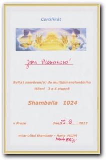 Certifikát Shamballa 1024 třetí a čtvrtý stupeň